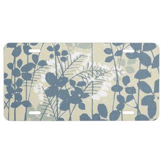 Japanese Asian Art Floral Blue Flowers Print License Plate