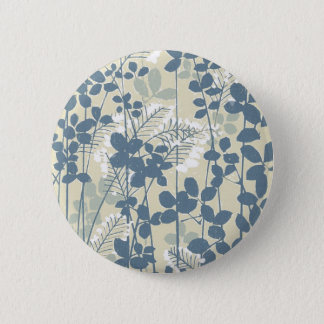 Japanese Asian Art Floral Blue Flowers Print Pinback Button