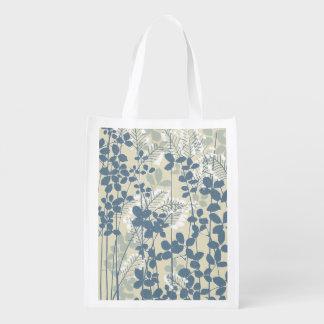 Japanese Asian Art Floral Blue Flowers Print Reusable Grocery Bag