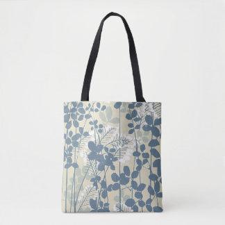 Japanese Asian Art Floral Blue Flowers Print Tote Bag