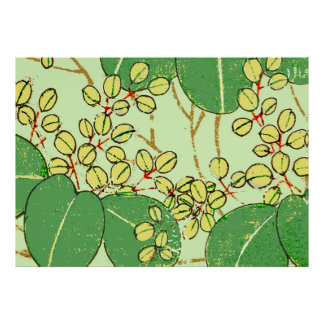 Japanese Asian Green Art Print Floral Leaves