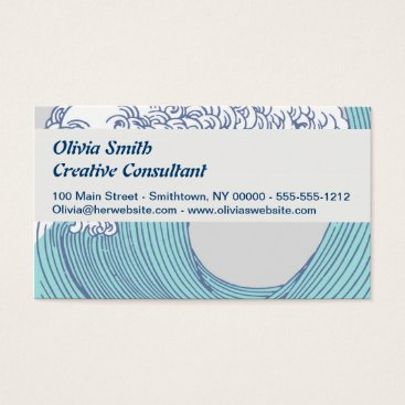 Beach Themed Japanese Asian Surf Wave Art Print Ocean Beach Business Card
