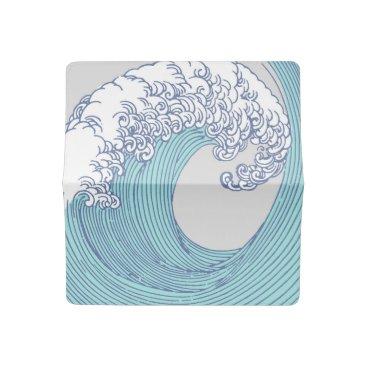 Beach Themed Japanese Asian Surf Wave Art Print Ocean Beach Checkbook Cover