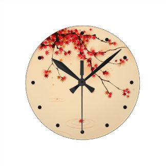 Japanese Autumn Art Round Clock