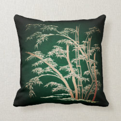 Japanese Bamboo Grove Green Throw Pillow