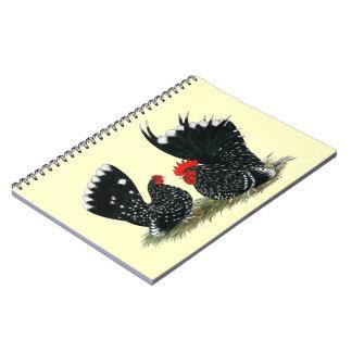 Japanese Bantams Mottled Spiral Notebook