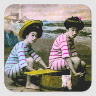 Japanese Bathing Beauties Vintage Beach Babes Square Sticker