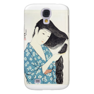Japanese Beauty Combing Her Hair Samsung Galaxy S4 Covers