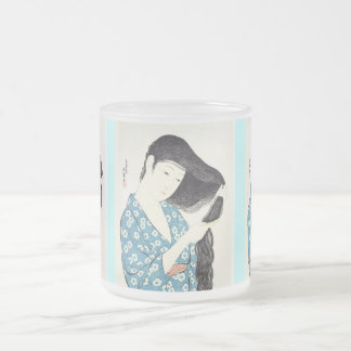 Japanese Beauty Combing Her Hair Frosted Glass Coffee Mug
