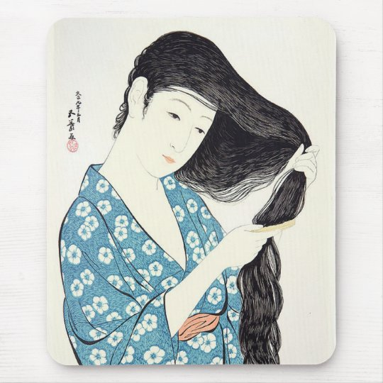 Japanese Beauty Combing Her Hair Mouse Pad