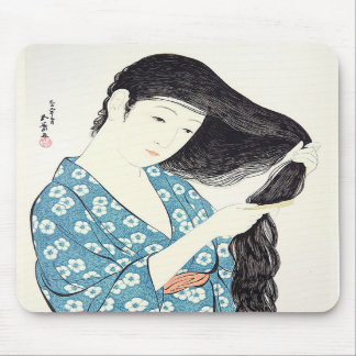 Japanese Beauty Combing Her Hair Mousepads