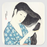 Japanese Beauty Combing Her Hair Square Sticker