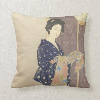 Japanese Beauty in Summer Kimono Pillow