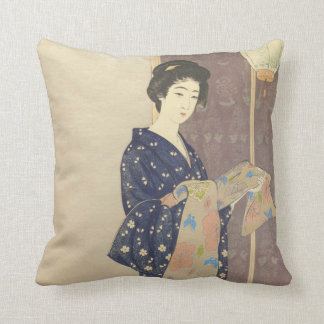 Japanese Beauty in Summer Kimono Throw Pillow
