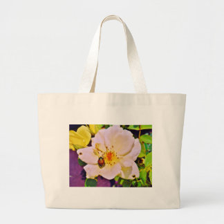 Japanese Beetle on White  Rose Tote Bags