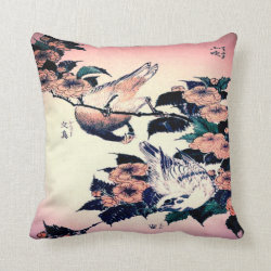 Japanese Bird Art Throw Pillow