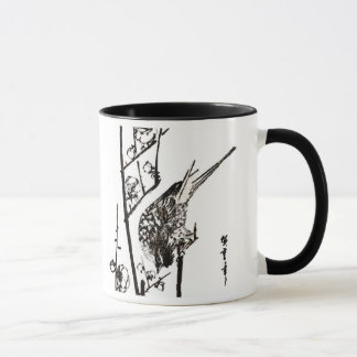 Japanese Bird on a Branch - Black and White Mug