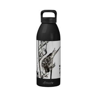 Japanese Bird on a Branch - Black and White Drinking Bottles