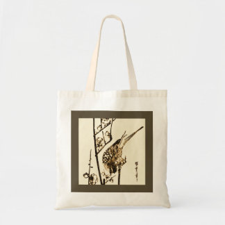 Japanese Bird on a Branch - Brown and Beige Tote Bag