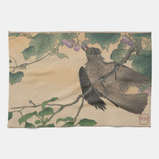 Japanese Bird Vintage Art Image Kitchen Towel