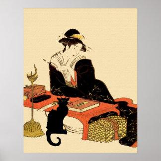 Japanese Black Cat Lady Poster