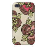 Japanese Blooms Ink Drawing iPhone 4 Cover Case