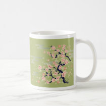 illustration, japan, japanese, ninja, samurai, sakura, nippon, asia, cherry-blossom, graphic, flower, vintage, fujiya, art, oriental, pink, pop, cute, pretty, blossom, china, chinese, Mug with custom graphic design