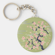 illustration, japan, japanese, ninja, samurai, sakura, nippon, asia, cherry-blossom, graphic, flower, vintage, fujiya, art, oriental, pink, pop, cute, pretty, blossom, china, chinese, Keychain with custom graphic design