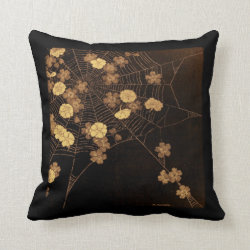 Japanese Blossoms and Web Throw Pillow