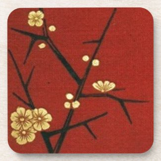 Japanese Blossoms - Vintage Red Drink Coasters