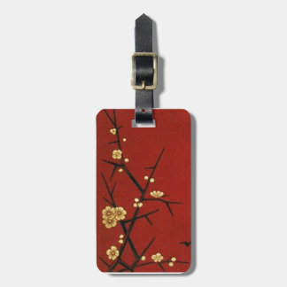 Japanese Blossoms - Vintage Red Luggage Tag