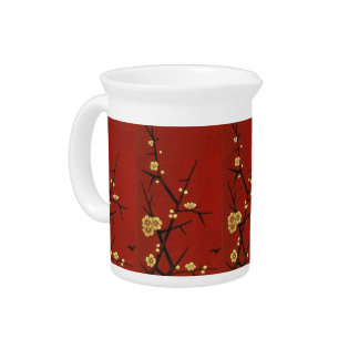 Japanese Blossoms - Vintage Red Pitchers