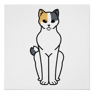 Japanese Bobtail Cat Cartoon Poster
