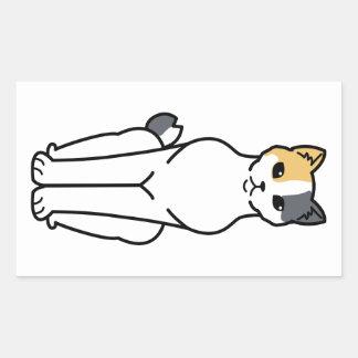 japanese bobtail cat cartoon rectangular sticker