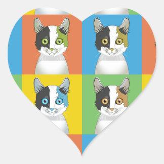 Japanese Bobtail Cat Pop-Art Heart Stickers
