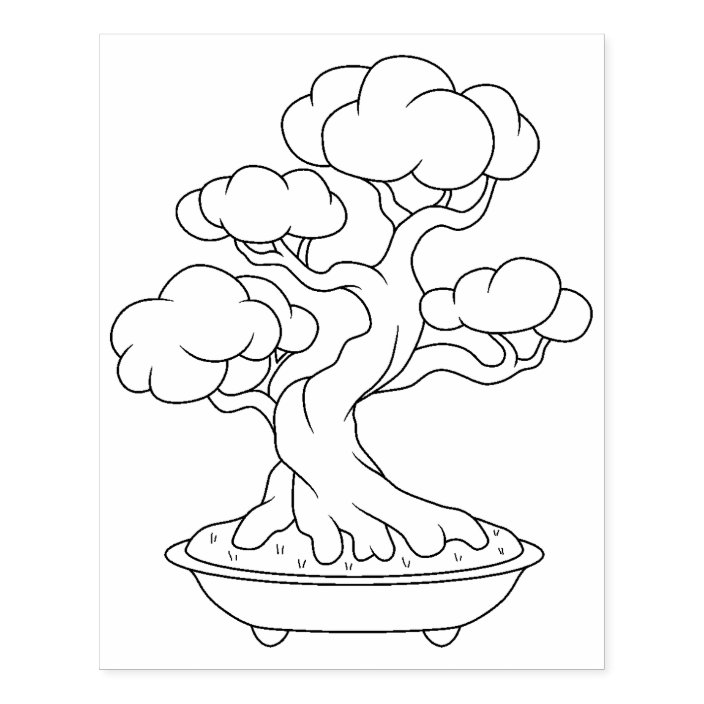 Japanese Bonsai Tree In A Tray Coloring Page Rubber Stamp Zazzle Com
