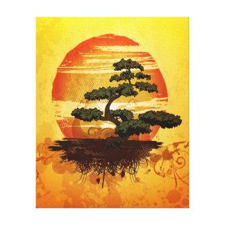 Japanese Bonsai Tree Sunset Canvas Print