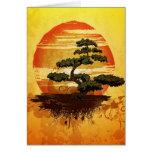 Japanese Bonsai Tree Sunset Card