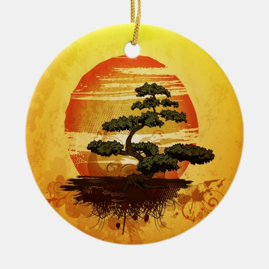 Japanese Bonsai Tree Sunset Ceramic Ornament