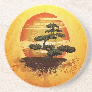 Japanese Bonsai Tree Sunset Drink Coasters