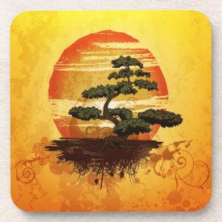 Japanese Bonsai Tree Sunset Drink Coaster