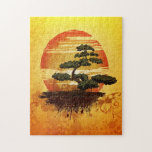 """Japanese Bonsai Tree Sunset Jigsaw Puzzle<br><div class=""""desc"""">Beautiful illustration of a Japanese bonsai tree against a colorful sunset. Very tranquil and peaceful image.</div>"""