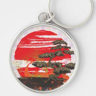 Japanese Bonsai Tree Sunset Keychain