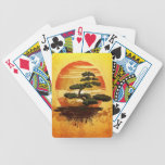 Japanese Bonsai Tree Sunset Poker Cards