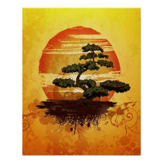 Japanese Bonsai Tree Sunset Poster