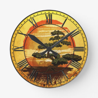 Japanese Bonsai Tree Sunset Round Clock