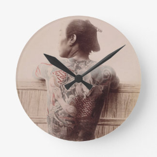 Japanese Bridegroom's Tattoos, c.1880 (photo) Round Clock