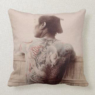 Japanese Bridegroom's Tattoos, c.1880 (photo) Throw Pillow