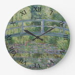 Japanese Bridge and Water Lilies by Claude Monet Round Clock