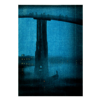 Japanese Bridge at Night no.2 Poster